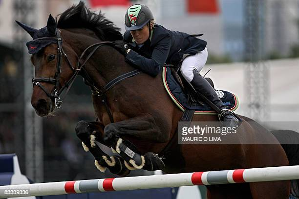 Irish rider Jessica Kurten atop her horse Castle Forbes Libertina jumps an obstacle of the the Global Champions Tour 160m jumpoff Grand Prix final...