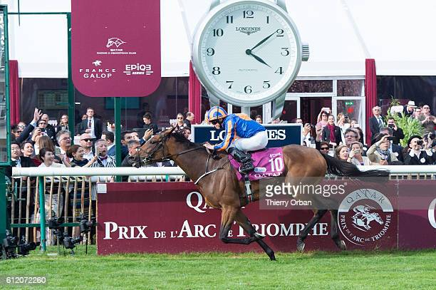 Irish rider Ryan Lee Moore with horse Found cross the Finish Line and wins the race Qatar Prix de l'Arc de Triomphe on October 2 2016 in Chantilly...
