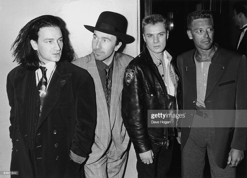 Irish rock group U2 at the Brit Awards where they took the award for Best International Group London February 1988 Left to right Bono The Edge Larry...