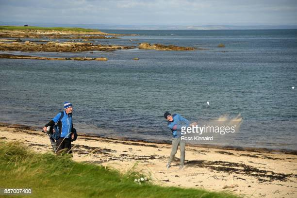Irish Rugby player Paul O'Connell plays onto the 12th green during practice prior to the 2017 Alfred Dunhill Links Championship at Kingsbarns on...