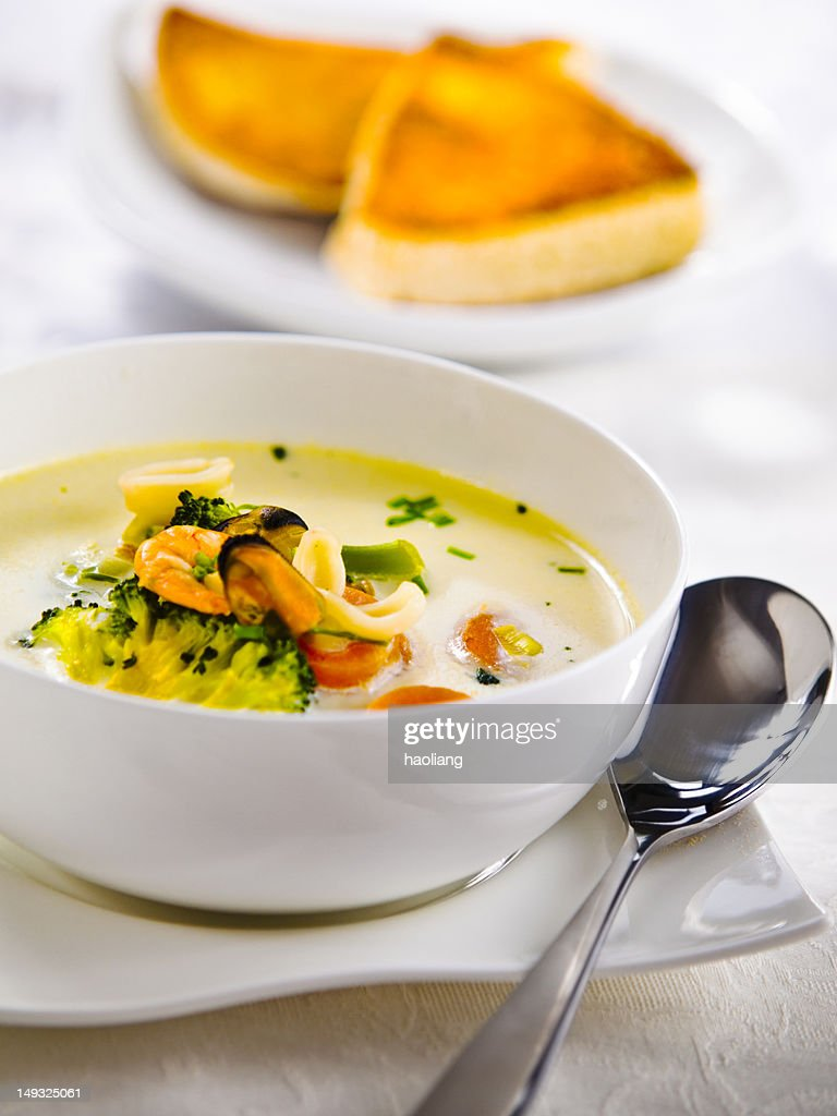 Irish seafood chowder : Stock Photo