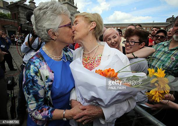 Irish Senator Katherine Zappone kisses her partner Ann Louise Gilligan as supporters for samesex marriage wait for the result of the referendum at...