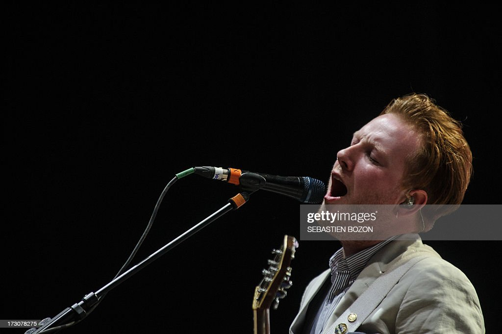 Irish singer Alex Trimble of the Two Door Cinema Club performs on July 6, 2013 at the Eurockeennes festival in the eastern French city of Belfort.