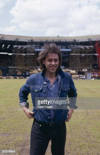 Irish singer and Live Aid organiser Bob Geldof at Wembley Stadium London during preparations for the Live Aid concert 10th July 1985