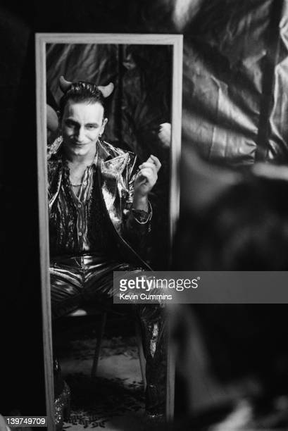 Irish singer Bono backstage at the Feijenoord Stadion Rotterdam in his stage persona of Mr MacPhisto before a concert by rock group U2 on their 'Zoo...