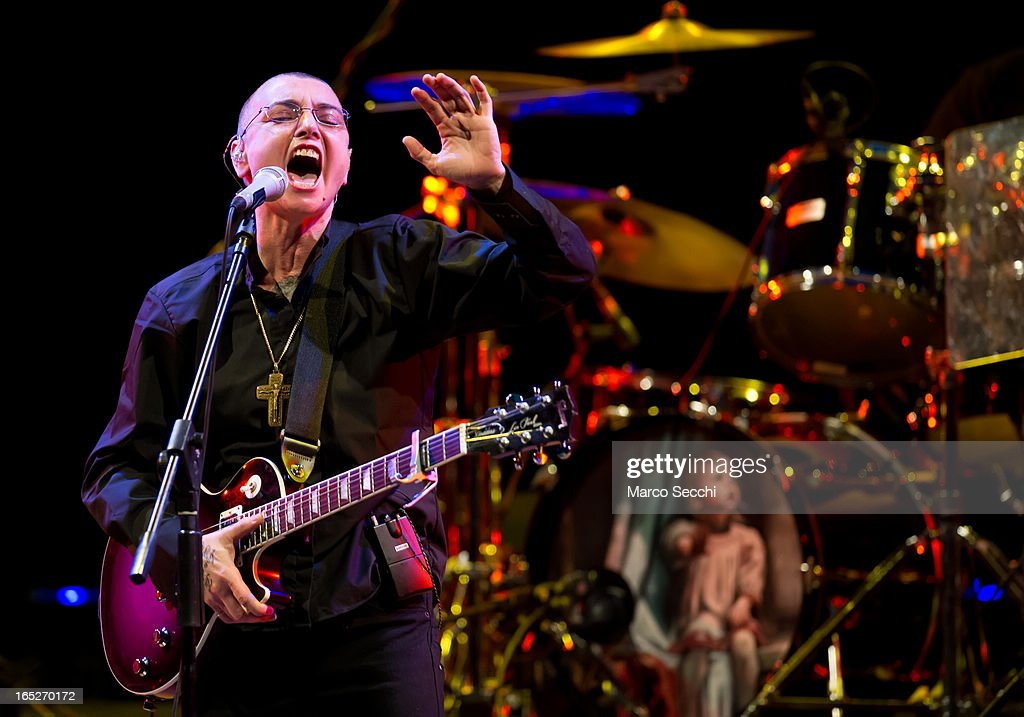 Irish singer songwriter <a gi-track='captionPersonalityLinkClicked' href=/galleries/search?phrase=Sinead+O%27Connor&family=editorial&specificpeople=217249 ng-click='$event.stopPropagation()'>Sinead O'Connor</a> performs at La Fenice Theater on April 2, 2013 in Venice, Italy.