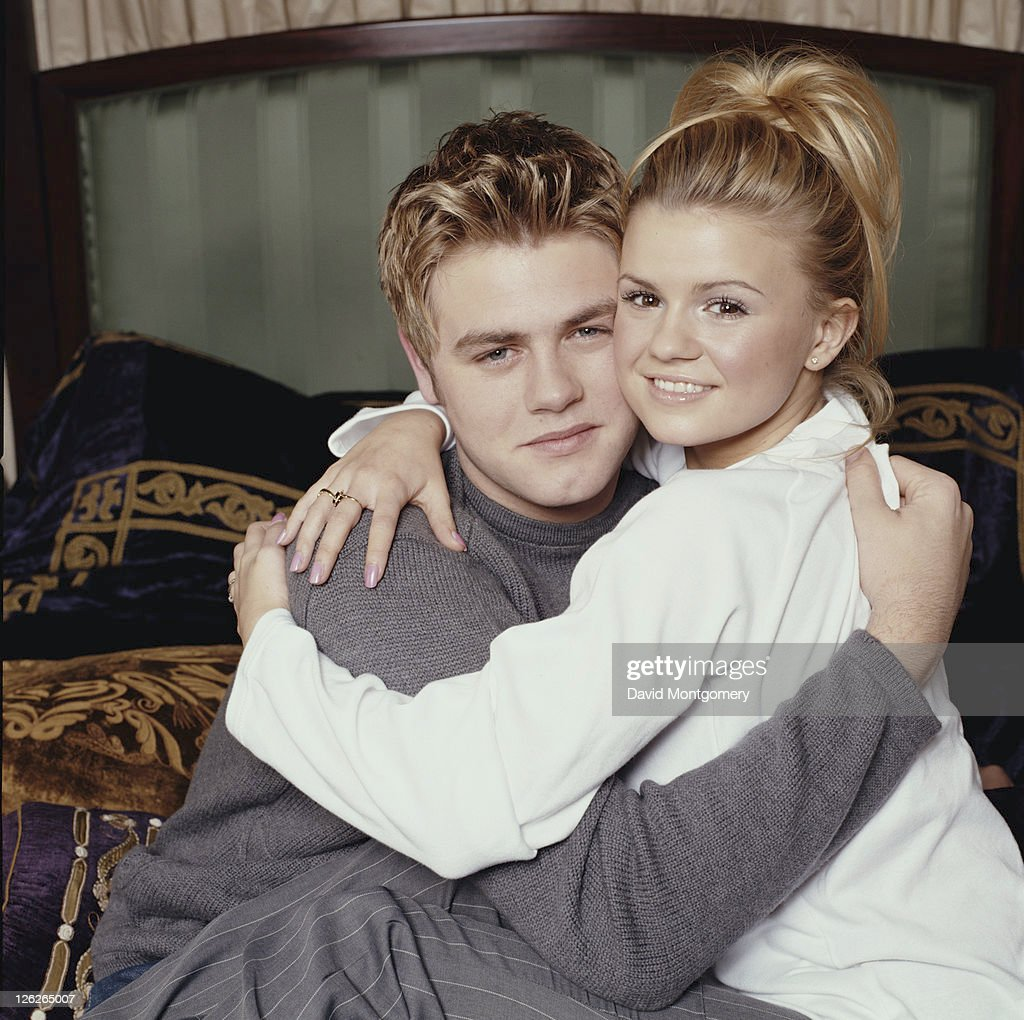 Irish singersongwriter Brian McFadden of boy band Westlife with English singer Kerry Katona of Atomic Kitten circa 2000