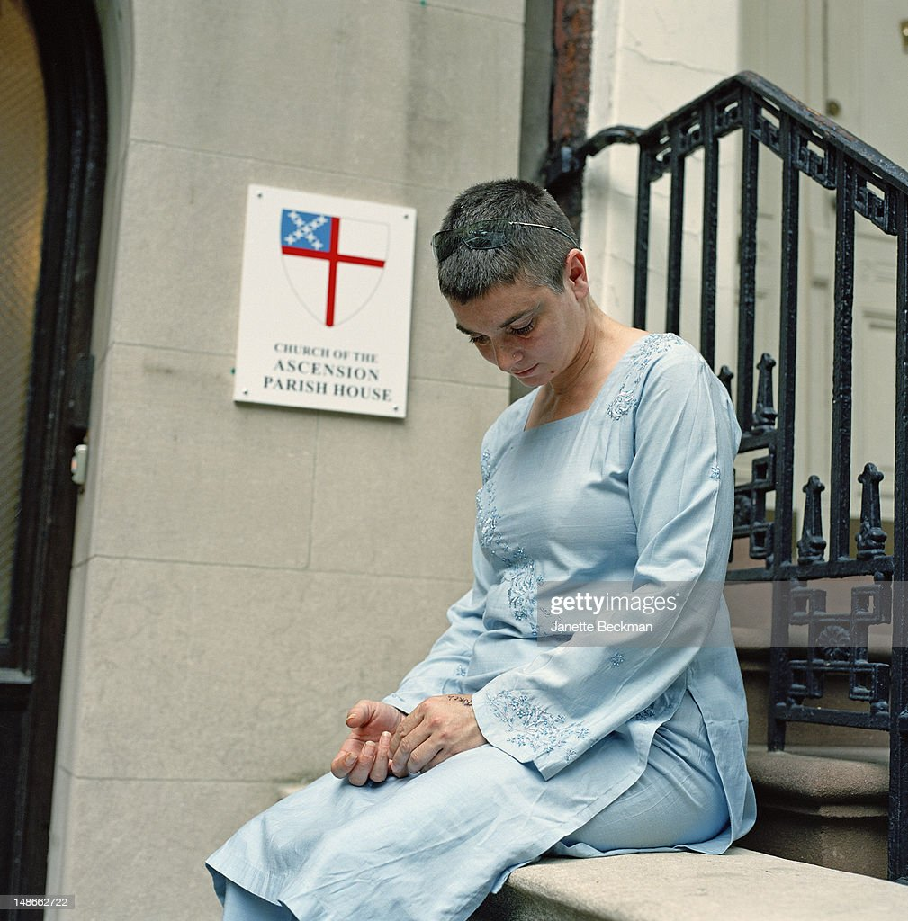 Irish singer-songwriter Sinead O'Connor, outside the Parish House of the (Episcopal) Church of the Ascension, Manhattan, New York City, 2010.