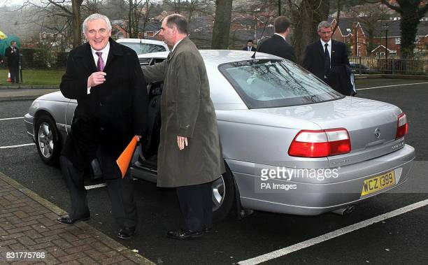 Irish Taoiseach Bertie Ahern arrivesThursday April 6 2006 to deliver the Cormac McAnallen leadership lecture at St Catherine's College Armagh city...
