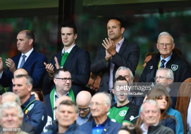 Irish Taoiseach elect Leo Varadkar applauds the national anthem alongside his partner Matthew Barrett before the FIFA 2018 World Cup Qualifier...