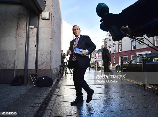 Irish Taoiseach Enda Kenny arrives at the North South Ministerial Committee meeting on November 18 2016 in Armagh Northern Ireland Brexit is likely...