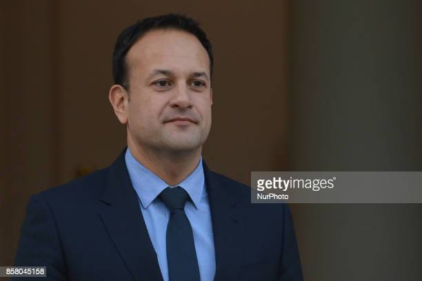 Irish Taoiseach Leo Varadkar awaits to meet Scottish First Minister Nicola Sturgeon at Government Buildings in Dublin On Thursday 5 October 2017 in...