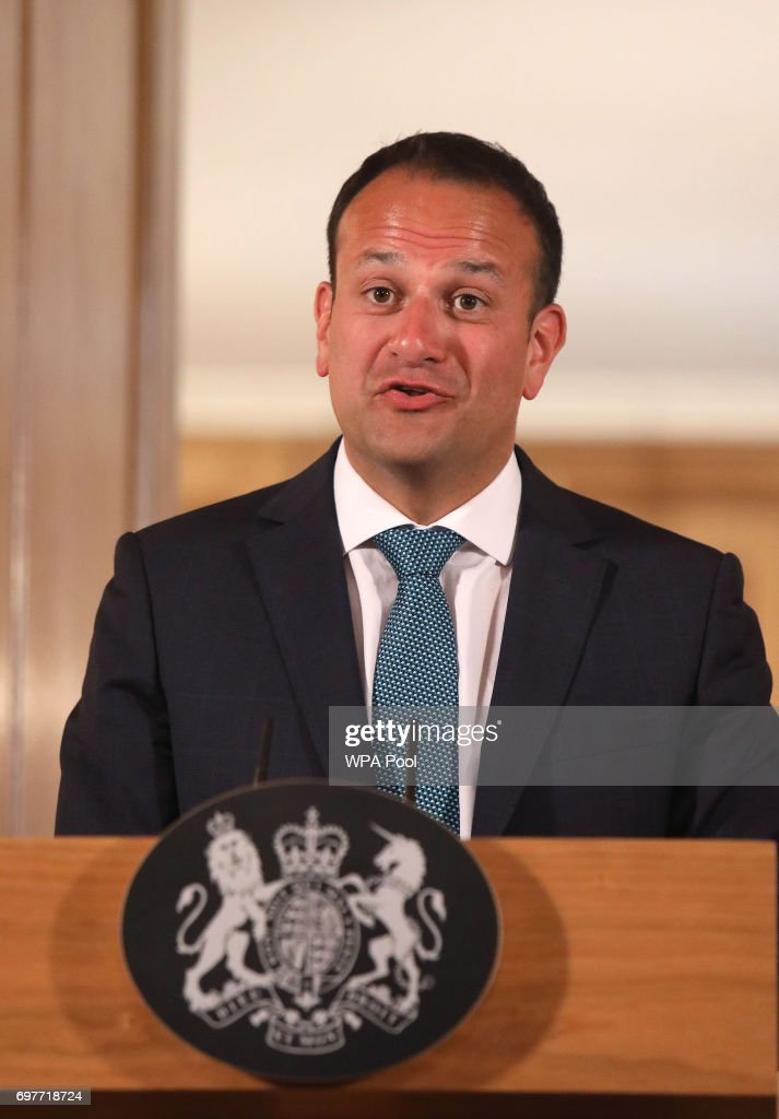 Irish Taoiseach Leo Varadkar speaks at a joint press conference with Britain's Prime Minister Theresa May after talks at 10 Downing Street on June 19, 2017 in London, England. The new Irish Taoiseach said he had been reassured about a potential deal between the Conservative Party and the Democratic Unionist Party (DUP) after raising concerns about the deal with the Prime Minister.