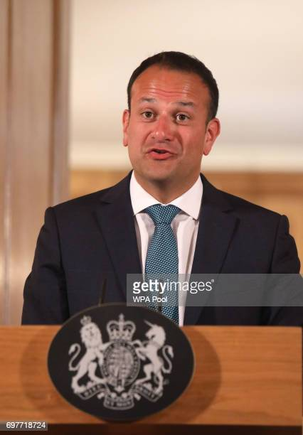 Irish Taoiseach Leo Varadkar speaks at a joint press conference with Britain's Prime Minister Theresa May after talks at 10 Downing Street on June 19...