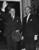 Irish Taoiseach Sean Lemass and his Minister for Finance Jack Lynch at 10 Downing Street for talks with British Prime Minister Harold Wilson 26th...