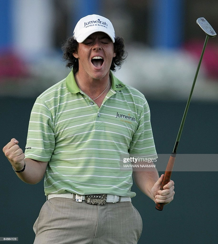 Irish teenager <a gi-track='captionPersonalityLinkClicked' href=/galleries/search?phrase=Rory+McIlroy&family=editorial&specificpeople=783109 ng-click='$event.stopPropagation()'>Rory McIlroy</a> reacts after winning the Dubai Desert Classic golf tournament on February 1, 2009. McIlroy won the 2.5 million-dollar tournament, but it took a brave four-footer at the last to win it after he had led by six strokes with six to play. He closed with a two-under par 70 for a total of 19-under-par 269 one stroke clear of England's Justin Rose, who closed with a 67 for second place.