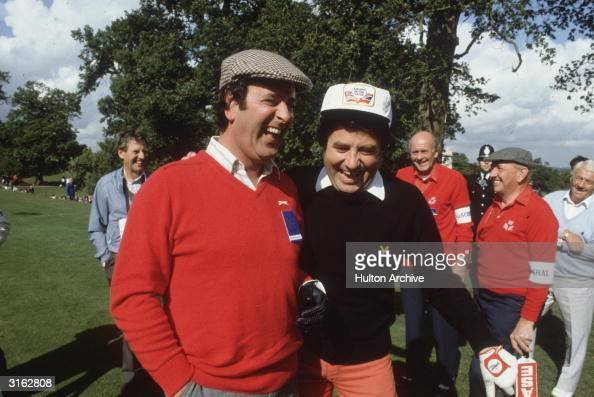 Irish television and radio presenter Terry Wogan with the Liverpudlian comedian Jimmy Tarbuck during the Bob Hope British Classic golf tournament at...