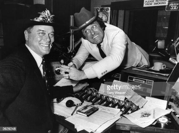 Irish television chat show celebrity and radio broadcaster Terry Wogan with American soap star Larry Hagman who plays JR in 'Dallas' At the time 'Who...