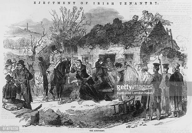 Irish tenants evicted by landlords from their smallholding and made homeless for the nonpayment of rent during The Great Famine which was caused by...