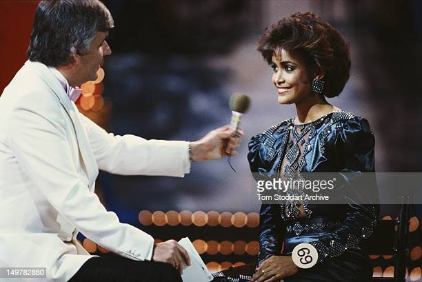 Irish TV presenter Peter Marshall interviews Miss World winner Giselle Laronde of Trinidad and Tobago at the Miss World beauty pageant at the Royal...