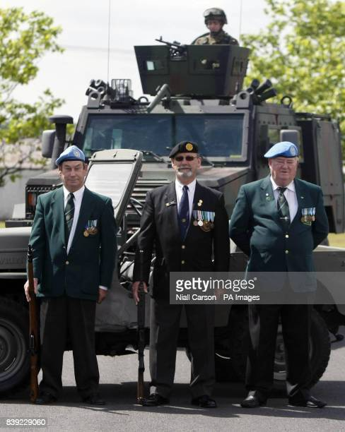 Irish UN Peacekeeping Veterans John O'Reilly Mick Carrol and Finton Morris and Trooper Alan Fogerty from the 1st Cavalry Squad during a photocall at...