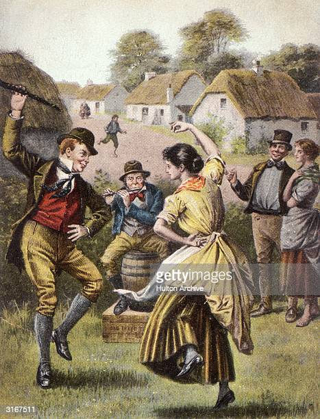 Irish villagers dancing a traditional Irish Jig Original Publication The OULD IRISH JIG 'Then a fig for the new fashioned waltzes imported from Spain...