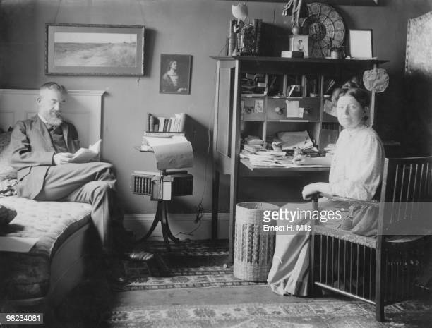 Irish writer and dramatist George Bernard Shaw and his wife Charlotte at their home 1905