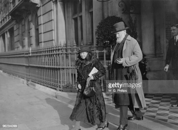 Irish writer and dramatist George Bernard Shaw with his wife Charlotte leaving their home at Whitehall Court London before leaving Britain for a...