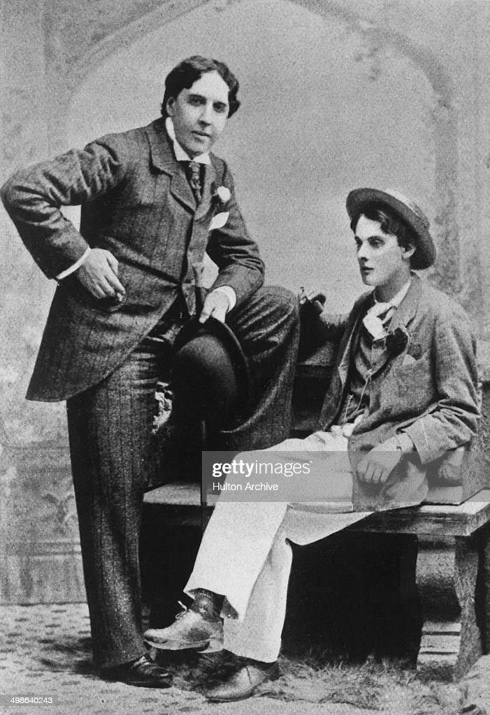 Irish writer and poet <a gi-track='captionPersonalityLinkClicked' href=/galleries/search?phrase=Oscar+Wilde&family=editorial&specificpeople=240419 ng-click='$event.stopPropagation()'>Oscar Wilde</a> (1854 - 1900, left) with fellow writer Lord Alfred Douglas (1870 - 1945) at Oxford, 1893.