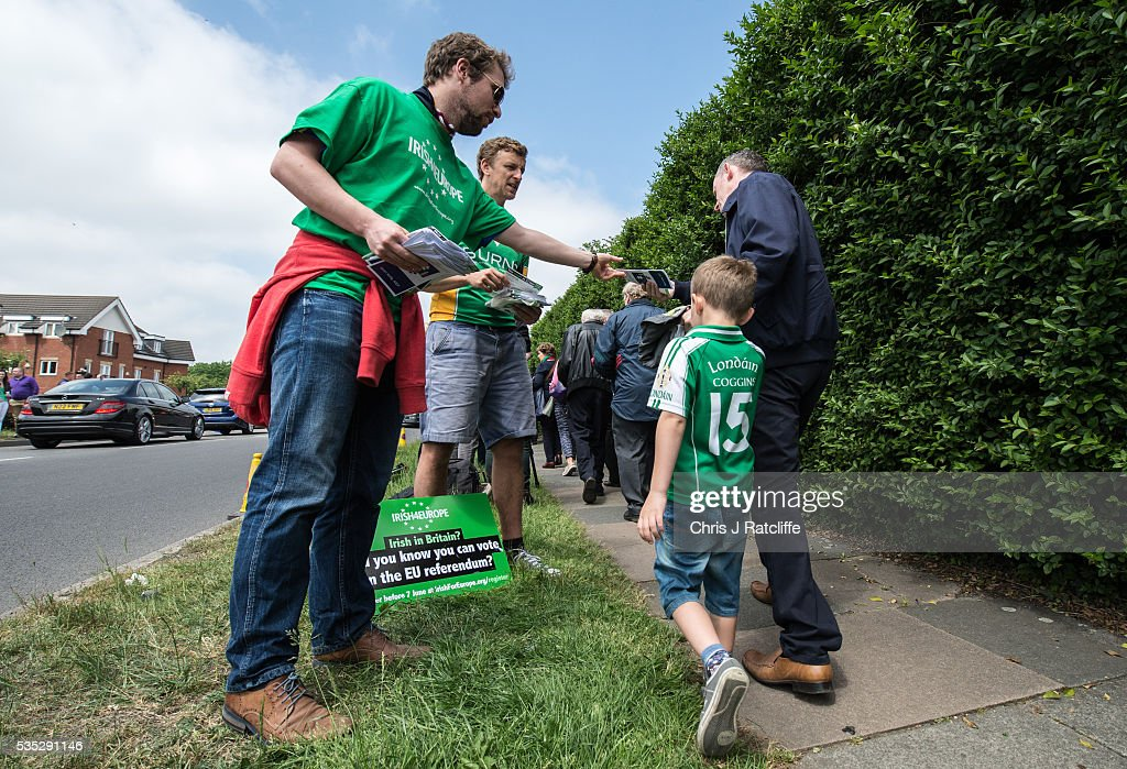 Irish4Europe campaigners hand out leaflets as Prime Minister of Ireland Enda Kenny attends an event to meet Irish4Europe campaigners at the London v Mayo Gaelic football game on May 28, 2016 in Ruislip, England. Mr Kenny spoke to Irish4Europe campaigners and the media in support of Britain remaining in the European Union. Britain will go to the polls to vote in the European referendum on June 23.