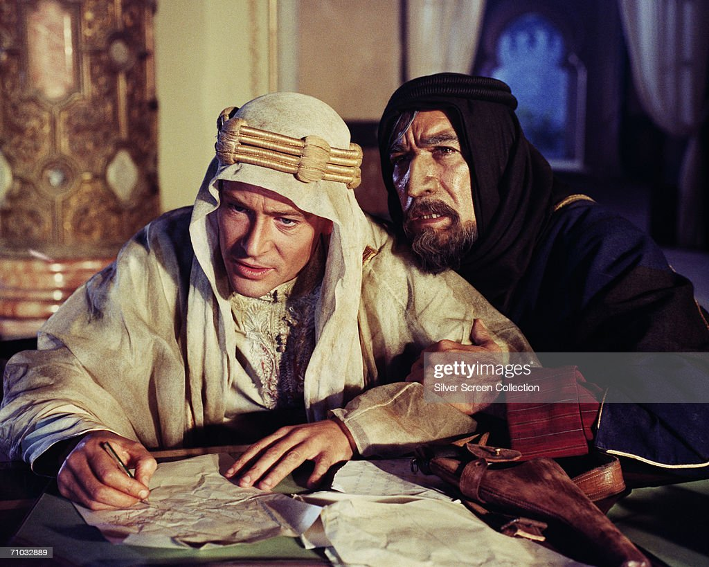 Irish-born actor Peter O'Toole and Mexican-born actor Anthony Quinn (1915 - 2001) as Auda abu Tayi in a still from director David Lean's film, 'Lawrence of Arabia', 1962.