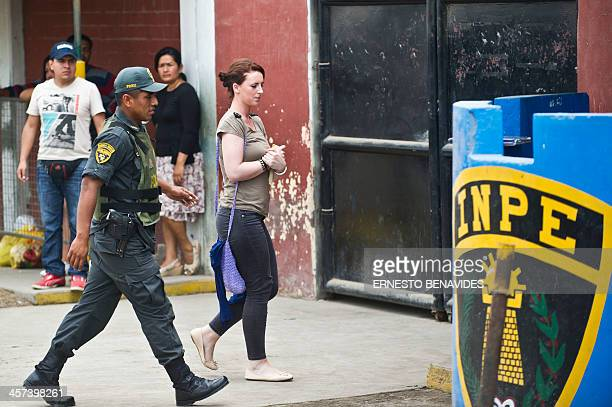 Irishwoman Michaella McCollum who was arrested at Lima's airport carrying cocaine in their luggage arrives at the Callao courtroom on December 17...