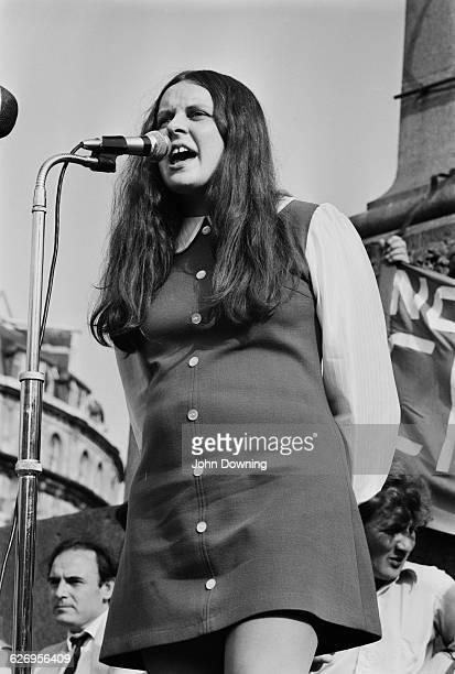 Irisih politician and activist Bernadette Devlin speaks at an Irish Civil Rights rally in Trafalgar Square London UK 7th July 1971 She is pregnant...