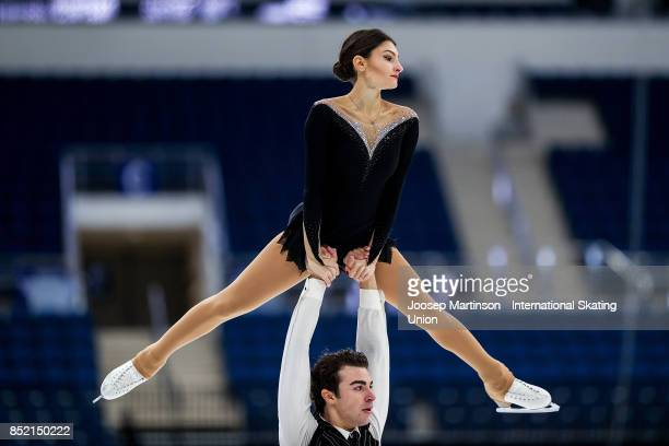 Irma Caldara and Edoardo Caputo of Italy compete in the Junior Pairs Free Skating during day three of the ISU Junior Grand Prix of Figure Skating at...