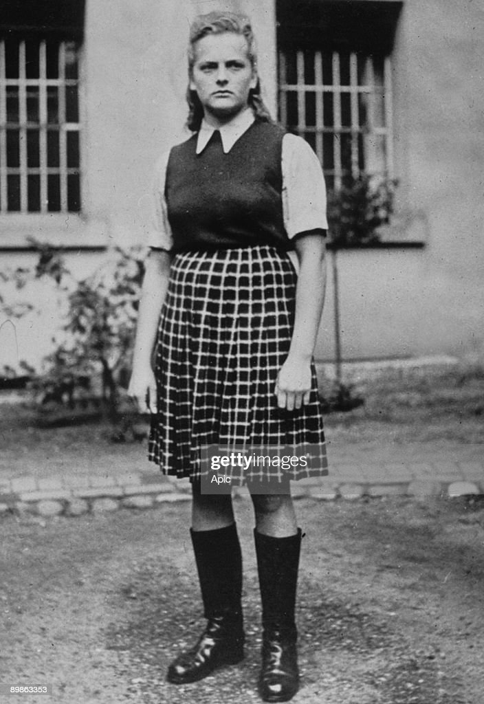 Irma Grese (1923-1945), called the dog of Auschwitz, she supervised Auschwitz and Bergen-Belsen concentration camp and was the assistant of Josef Mengele, here in a concentration camp, 40's