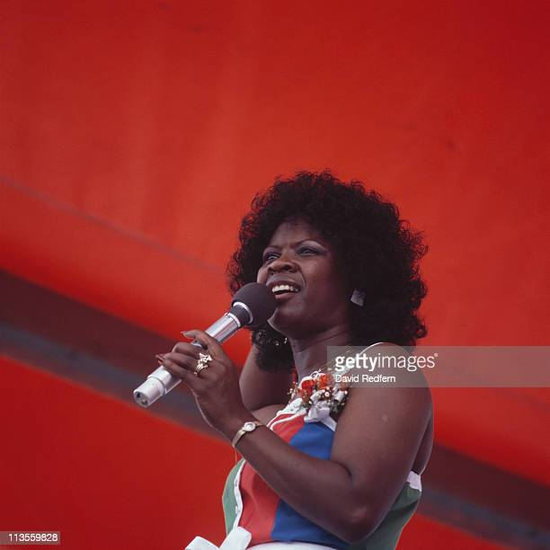 Irma Thomas US soul and rhythm and blues singer singing during a live concert performance at the New Orleans Jazz and Heritage Festival in New...