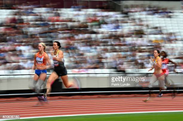 Irmgard Bensusan of Germany and Fleur Jong of Netherlands compete in round one heat two of the Womens 200m T44 during day nine of the IPC World...
