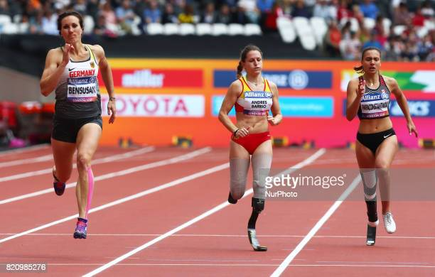LR Irmgard Bensusan of Germany Sara Andres Barrio of Spain and Marissa Papaconstantinou of Canada competing Women's 200m T44 Round 1 Heat 2 during...