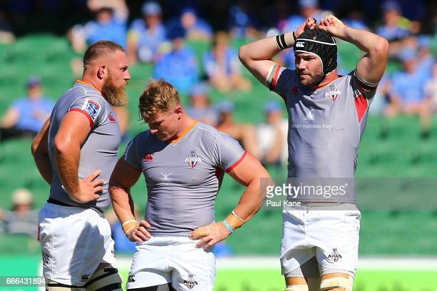 Irne Herbst Christopher Cloete and Wilhelm van der Sluys of the Kings look on during the round seven Super Rugby match between the Force and the...
