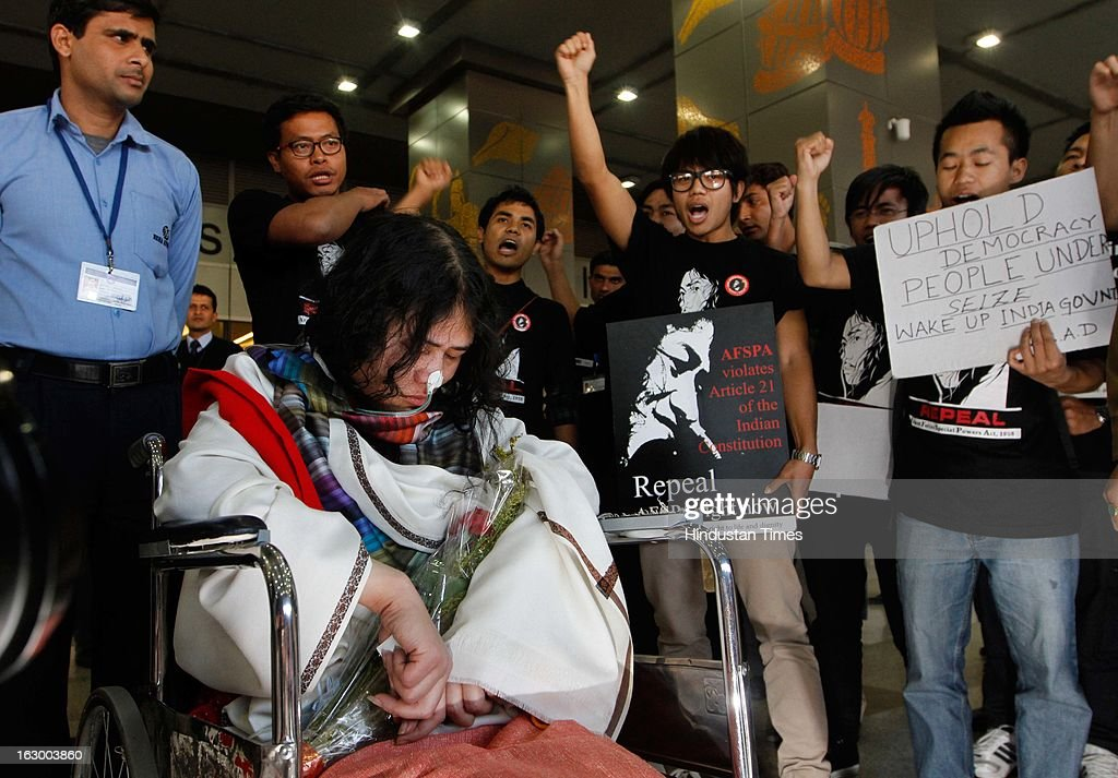 Irom Sharmila Chanu also known as Iron Lady of Manipur arrives at IGI T3 terminal on March 3, 2013 in New Delhi, India. Sharmila is a civil rights activist who has been on hunger strike since 2000 demanding repeal Armed Forces (Special Powers) Act 1958. She will appear in a Delhi court in connection with a case against her for attempt to suicide.