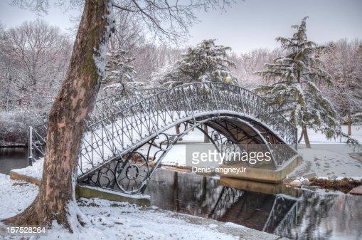 Iron Bridge covered in Snow