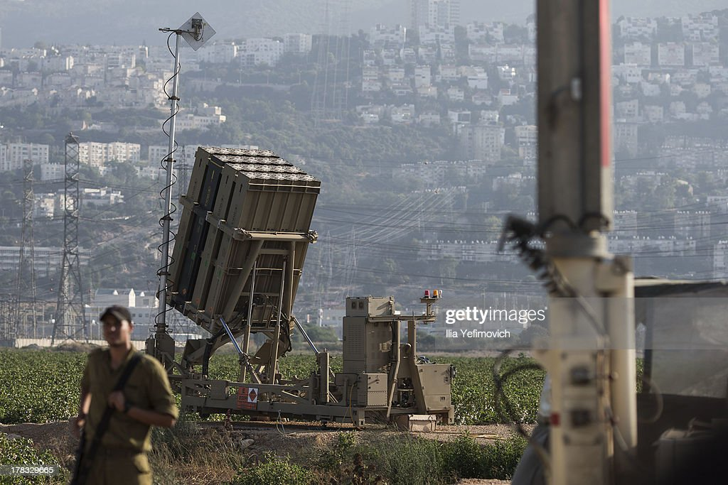 Iron Dome missile battery seen in industrial area of Haifa as tension surrounding the Syrian crisis escalates on August 29, 2013 in Haifa, Israel. After widespread international condemnation of Syria's alleged use of chemical weapons, the prospect of a US-led military intervention into Syria looms closer.