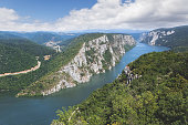 "Danube in Djerdap National park, Serbia. Danube gorge ""iron gate"" on the Serbian-Romanian border. Landscape in the Danube Gorges seen from the Serbian side"