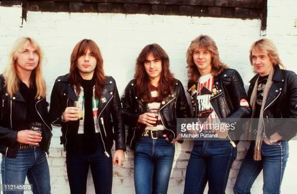 Iron Maiden group portrait Islington clockwise from bottom left