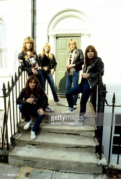 Iron Maiden group portrait Islington clockwise from bottom left Steve Harris Clive Burr Dave Murray Adrian Smith Bruce Dickinson
