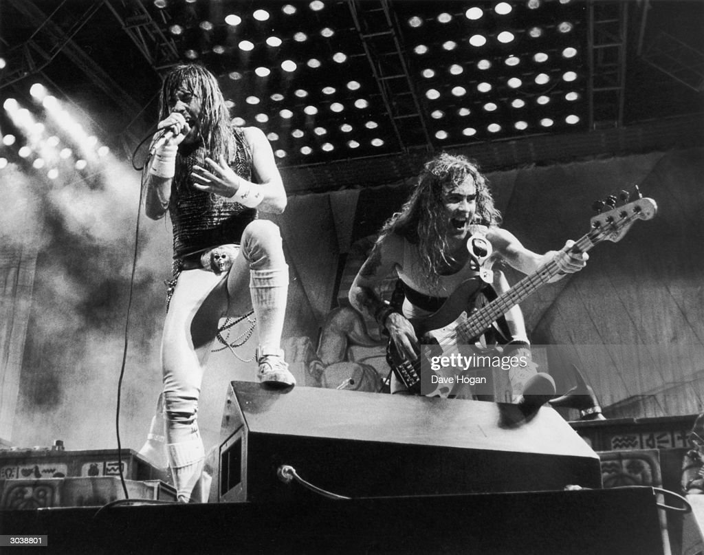 Iron Maiden in concert at the Rio rock festival, 24th January 1985.