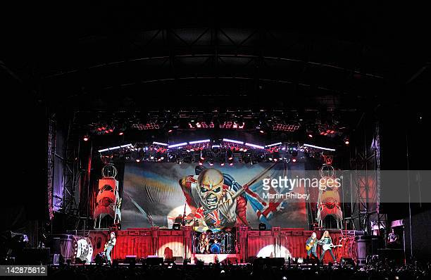 Iron Maiden performs on stage at The Soundwave Music Festival at Olympic Park on 27th February 2011 in Sydney Australia