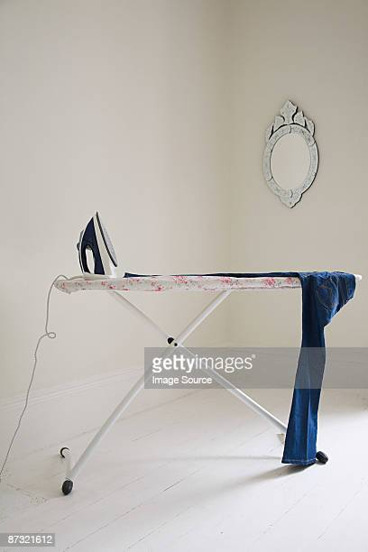 Iron on ironing board