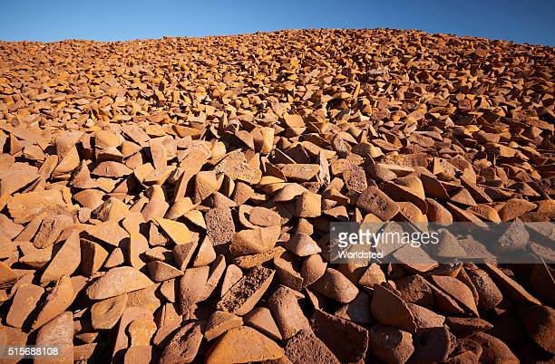 Iron ore in storage at steel production facility