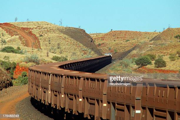 Iron ore train in scenic hills